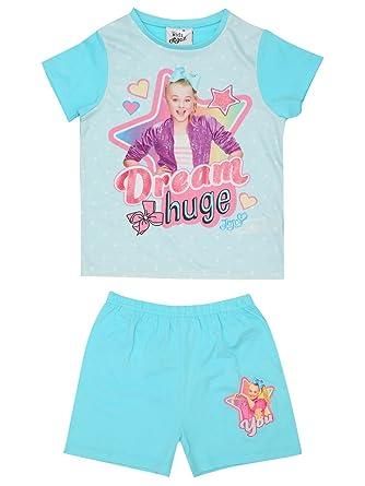b056650fcd50cb M Co JoJo Siwa Girls Sleepwear Blue Dream Huge Bow Slogan Print Short Sleeve  Top and Shorts