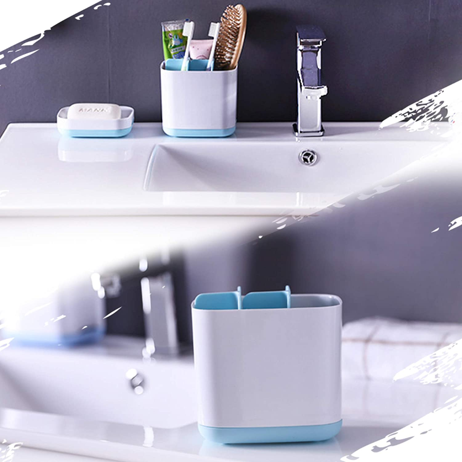 Famistar X-Large Toothbrush Holder,Plastic Bathroom Toothpaste Caddy,Multifunctional Toothbrush Stand 5 Slots for Electric Toothbrush,Toothpaste,Comb,Razor