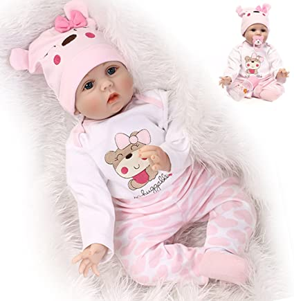 16 inches Doll Girl Silicone Baby Doll Eyes Open With Clothes Hair