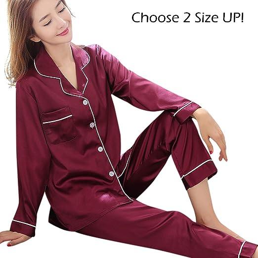 wishpower Womens Silk Satin Pajamas Set Sleepwear Loungewear XS~3XL Plus  Wine Red M 5e63257b8