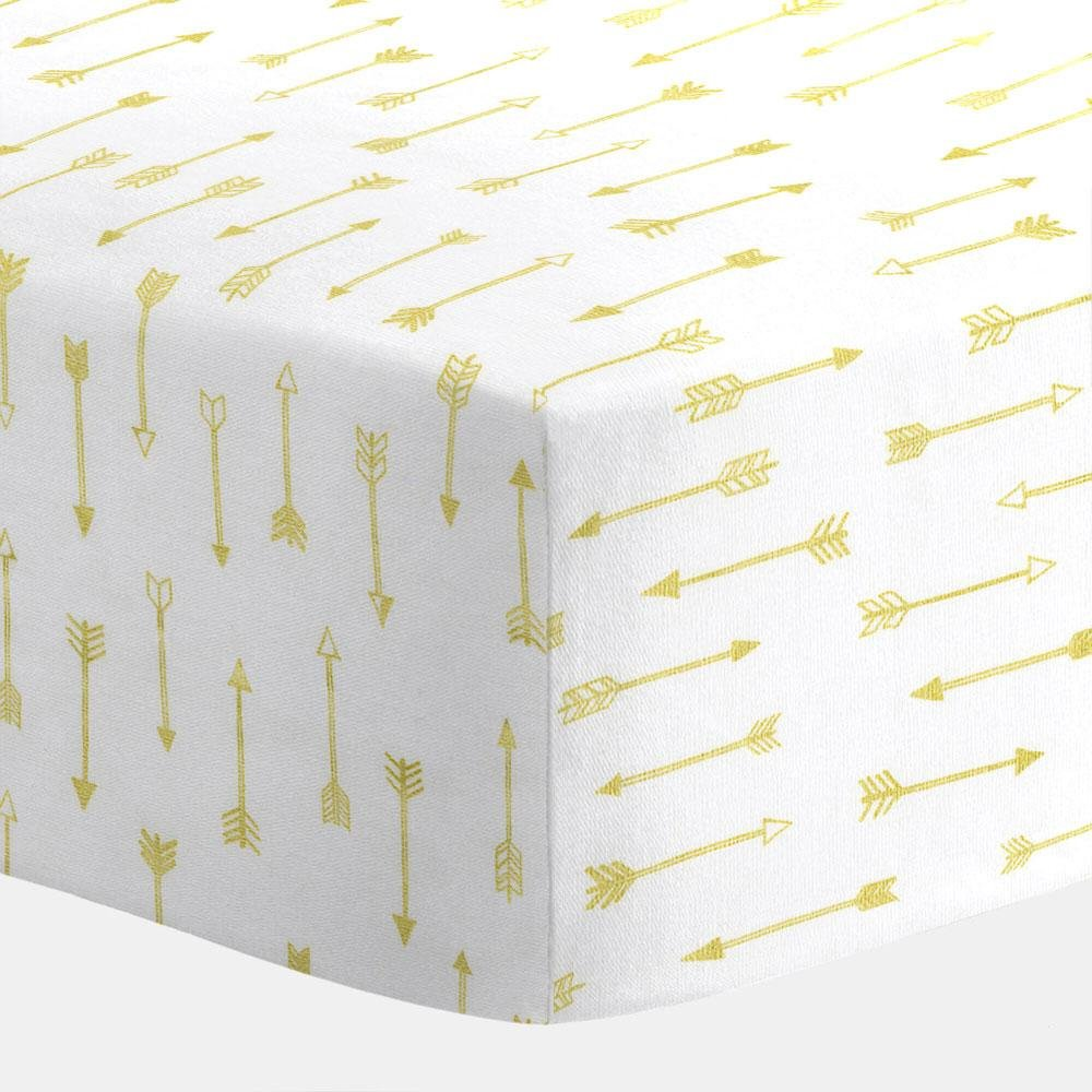 Carousel Designs White and Gold Arrows Crib Sheet by Carousel Designs   B01BVTY9FA