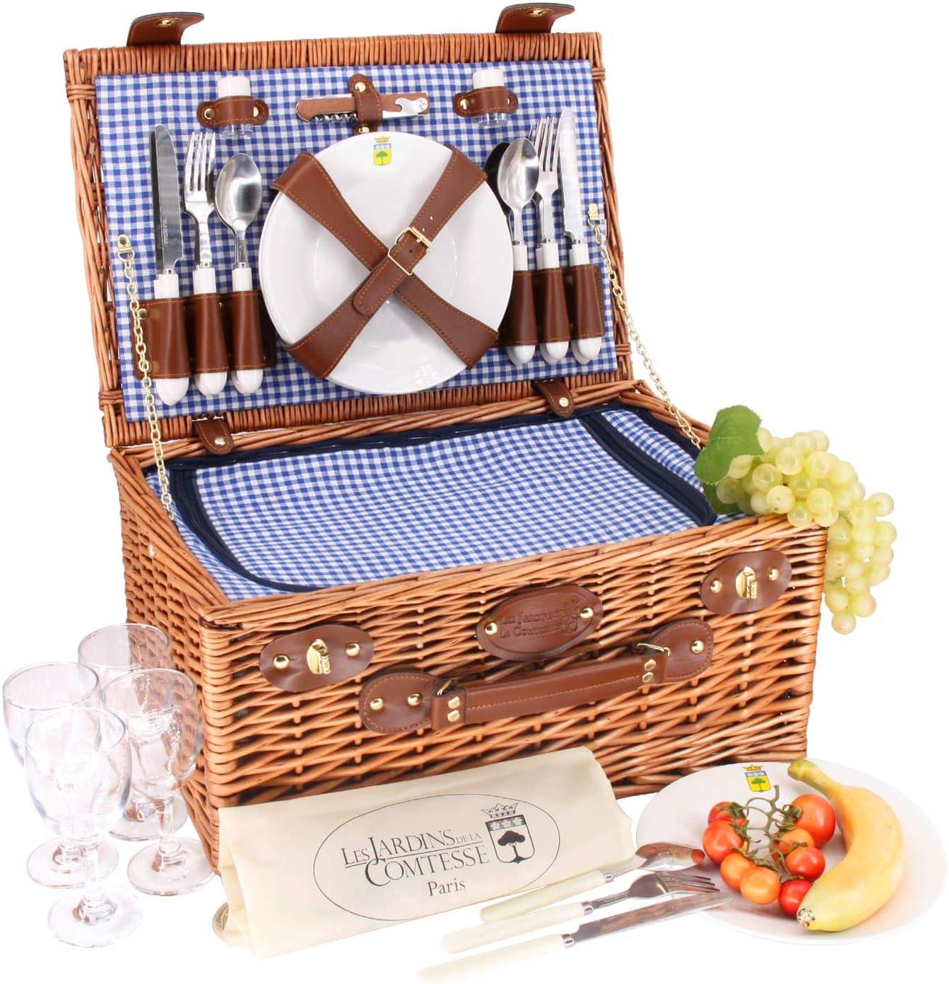 Compartimento nevera isot/érmico Platos de cer/ámica y copas de vino de cristal Cesta de picnic Marly tejido vichy azul Les Jardins de la Comtesse 46 x 31 x 20 cm Completo 4 personas