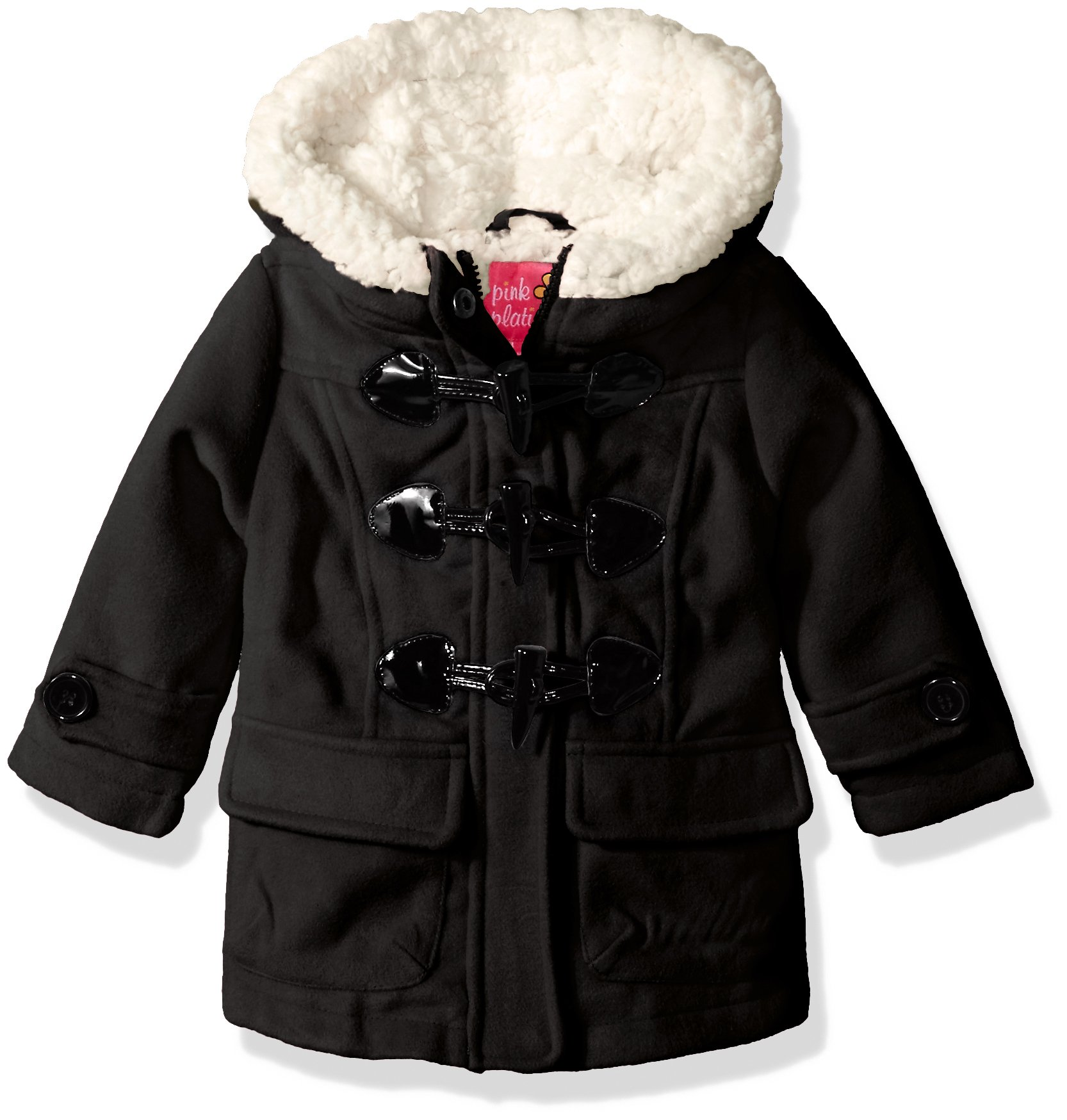 Pink Platinum Baby Girls Wool Toggle and Zip Front Coat, Black, 18M