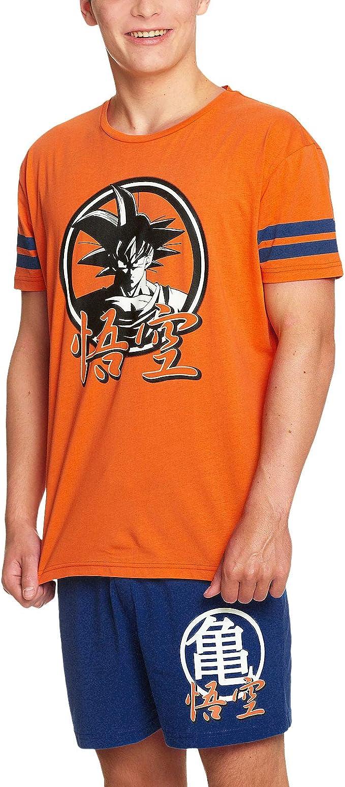 Dragon Ball Z Pijama 2 Piezas Goku Camiseta Shorts Elven Forest algodón Naranja Azul: Amazon.es: Ropa y accesorios