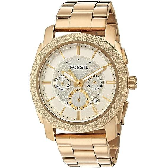 Fossil Machine FS5193 - Reloj para hombre en acero PVD dorado con crono , reloj 24 h y calendario.: Amazon.es: Relojes