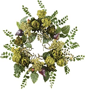 Nearly Natural 4684 Artichoke Floral Wreath, 20-Inch, Multi