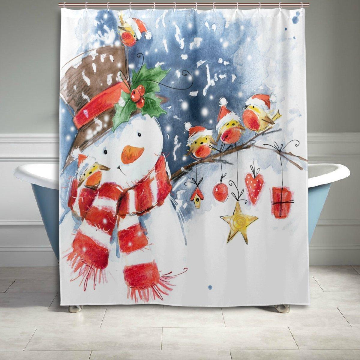 bluekeystudio Schneemann Weihnachten Duschvorhang Set mit Polyester ...