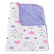Deluxe Plush Blanket for Baby Boys and Baby Girls (Purple Unicorns)
