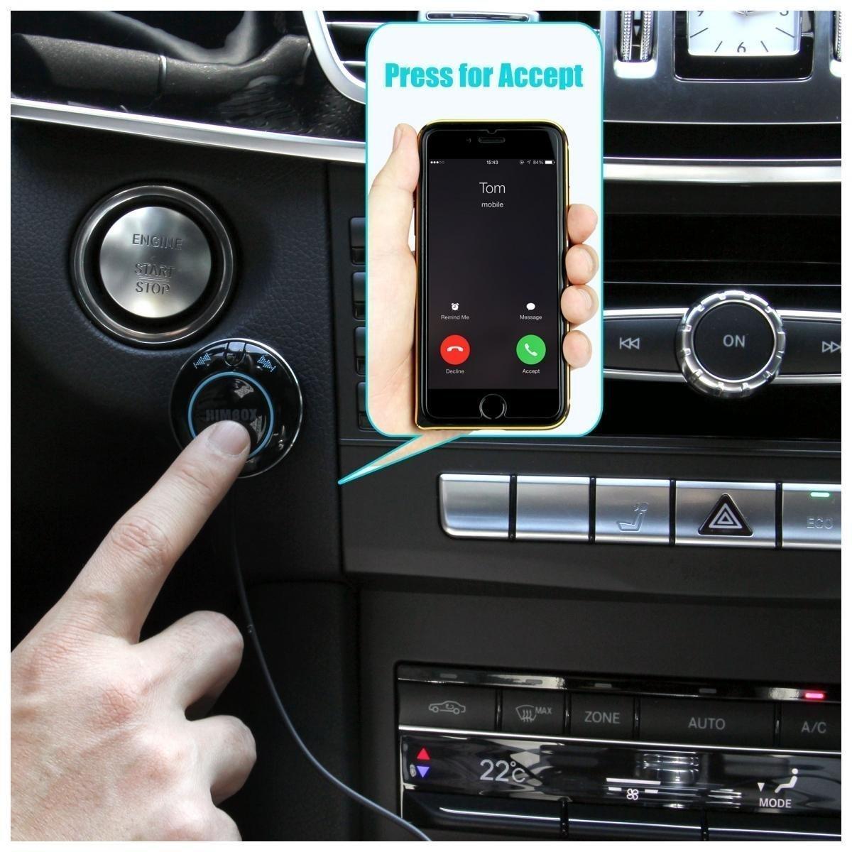 [Support apt-X] Freisprecheinrichtung iClever Himbox HB01 Plus Bluetooth 4.0, Freisprecheinrichtung fü r Autos mit 3,5 mm Aux-Eingangsbuchse, Mehrfachzugang, komfortable Siri/Voice-Aktivierung, 3-Port-USB-Ladegerä t, schwarz