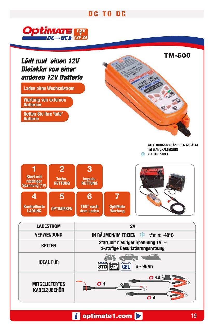 12V-Ladeger/ät f/ür 12V-Batterien//Gleichstromversorgung TecMate OptiMATE DC to DC Ladeger/ät TM500