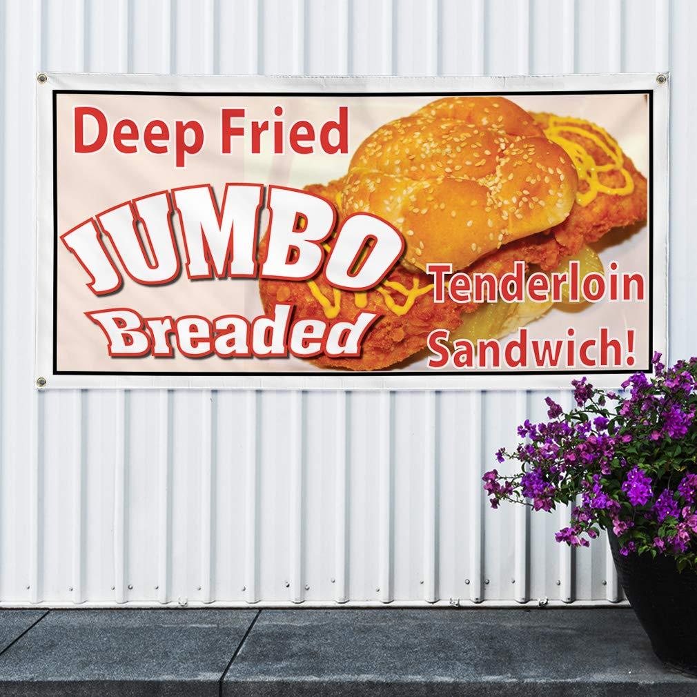 24inx60in 4 Grommets Set of 3 Multiple Sizes Available Vinyl Banner Sign Deep Fried Jumbo Breaded Tenderloin Marketing Advertising Golden
