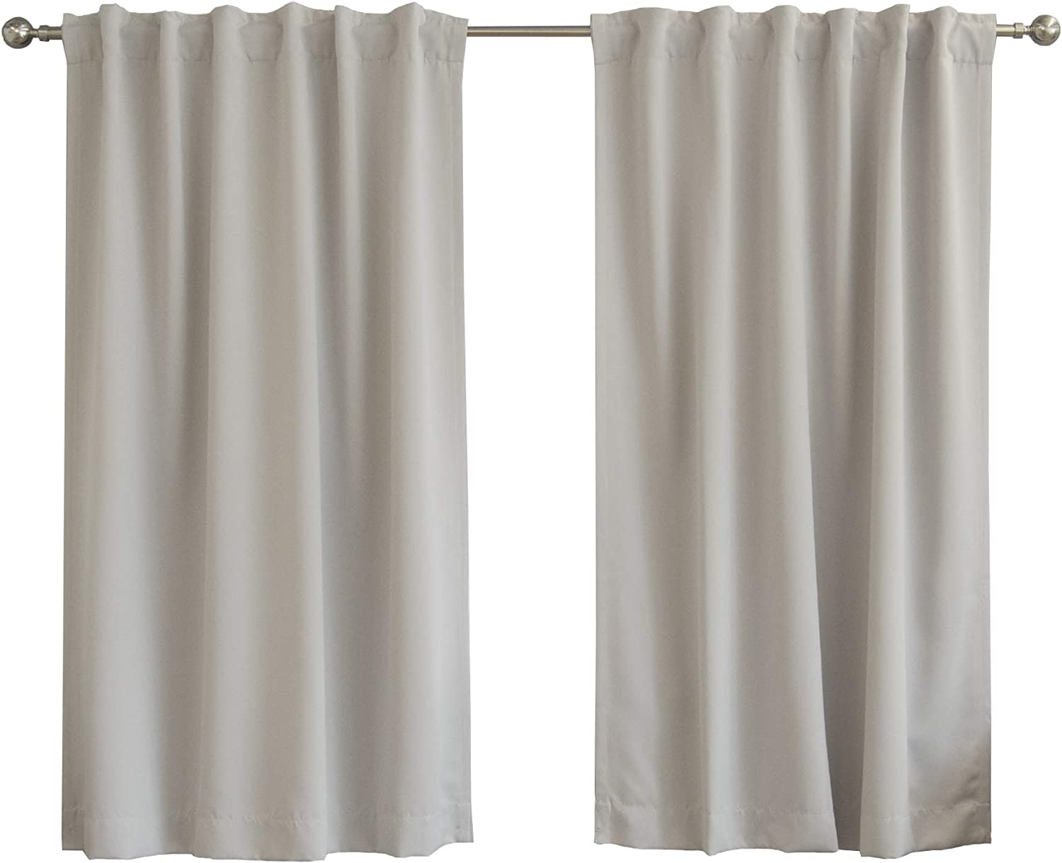 "Best Home Fashion Thermal Insulated Blackout Curtains - Back Tab/Rod Pocket - 52"" W x 63"" L - Light Grey (Set of 2 Panels)"