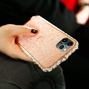 Bling Diamond Metal Bumper Case Glitter Sticker for iPhone 12 Pro Max 3D Bling Glitter Sparkly Luxury Rhinestone Jeweled Edge Frame for Woman Girls - Rose Gold