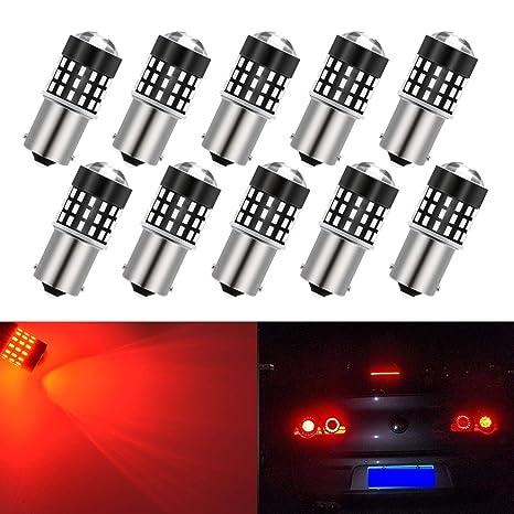 10 Bombillas LED súper brillantes, Katur 1156, BA15S, 7506, 1073, 1095, 1141, 3014, de 54 SMD; ...
