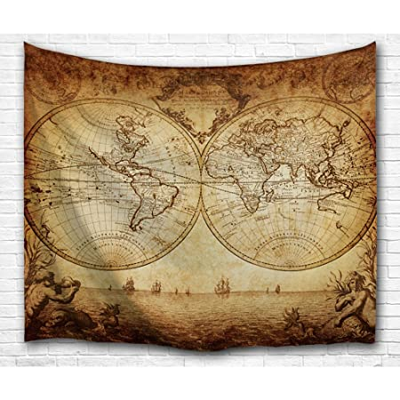 Bewave Wall Tapestry World Map Hanging Large Antique Polyester