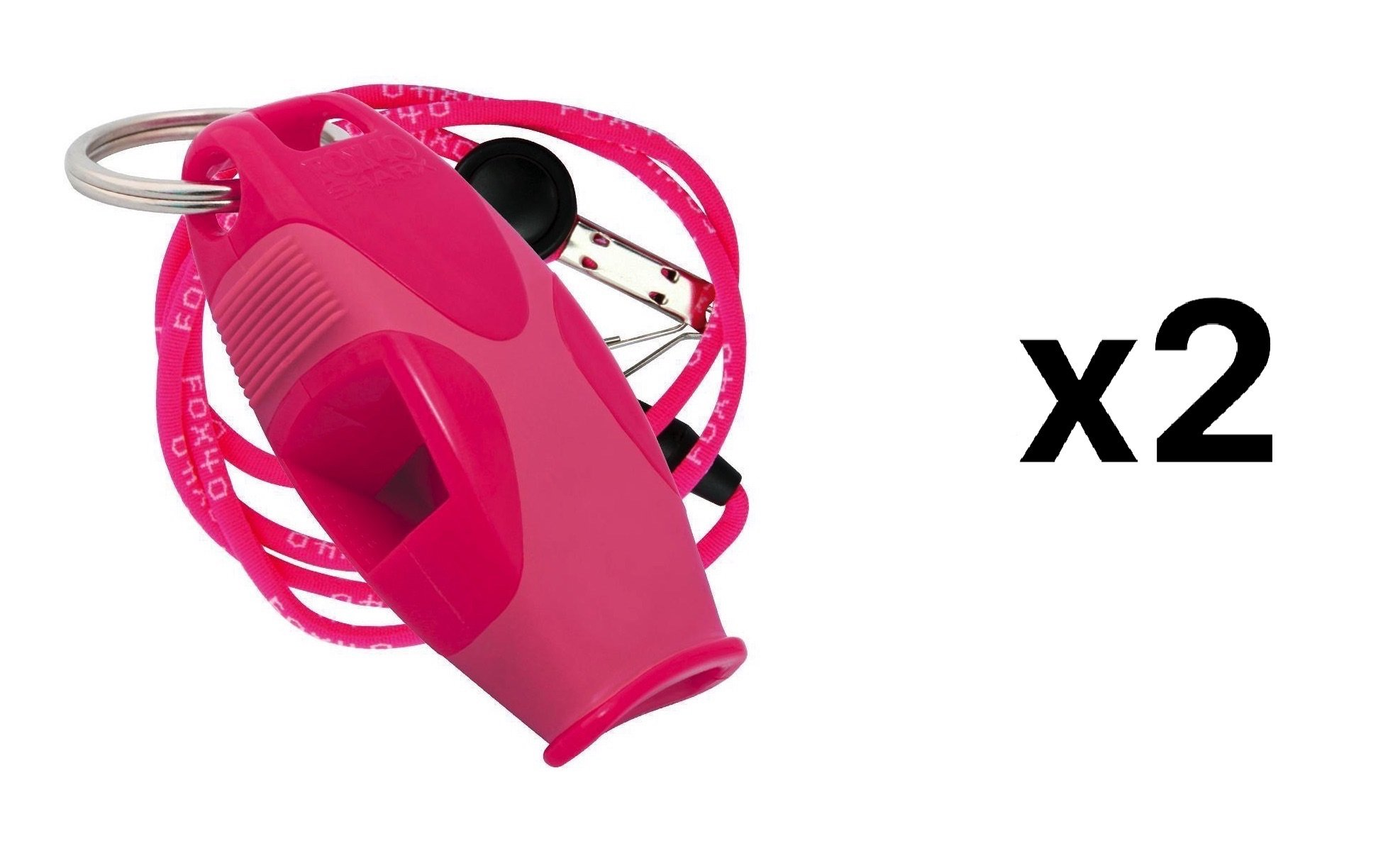 Fox 40 Sharx Whistle w/Lanyard Referee Survival Outdoor Safety Dog Pink (2-Pack)