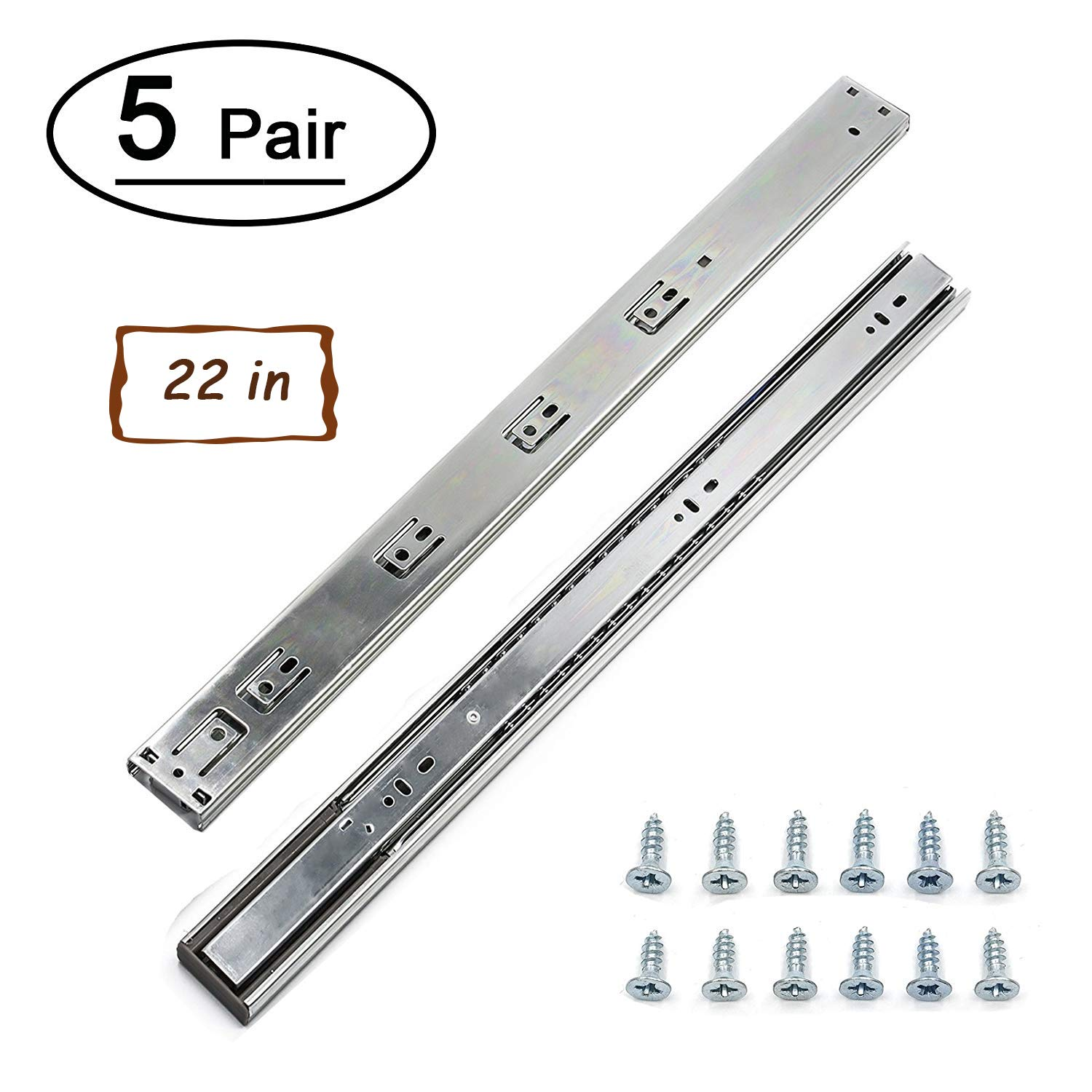 5 Pairs 22 inch Full Extension Drawer Slides Soft Close Ball Bearing Drawer Slides - LONTAN 4502S3-22 Rails for Drawers Heavy Duty 100 LB Capacity Drawer Runners