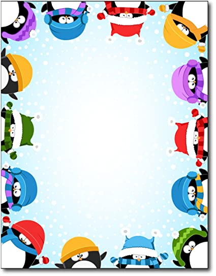 amazon com winter penguin border stationery 80 sheets office