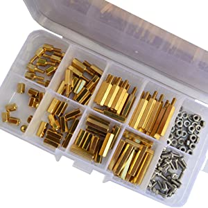 M2.5 Hex Male Female Brass Standoff Stud Board Pillar Threaded Mounting PCB Motherboard Hexagon Spacer Bolt Screw Nut Assortmen Kit 160Pcs