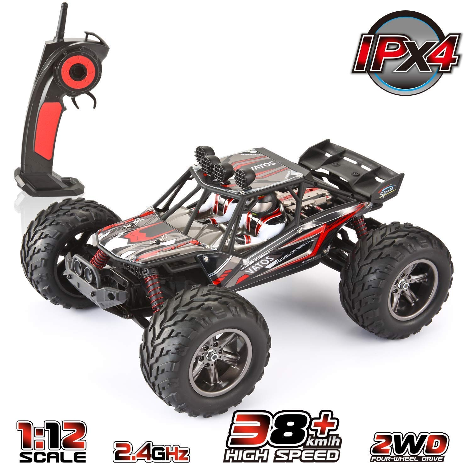 VATOS 1/12 RC Truks Off Road Remote Control Cars Rechargable 2.4GHz Fast Remote Control Car 2WD Waterproof All Terrain Remote Control Car