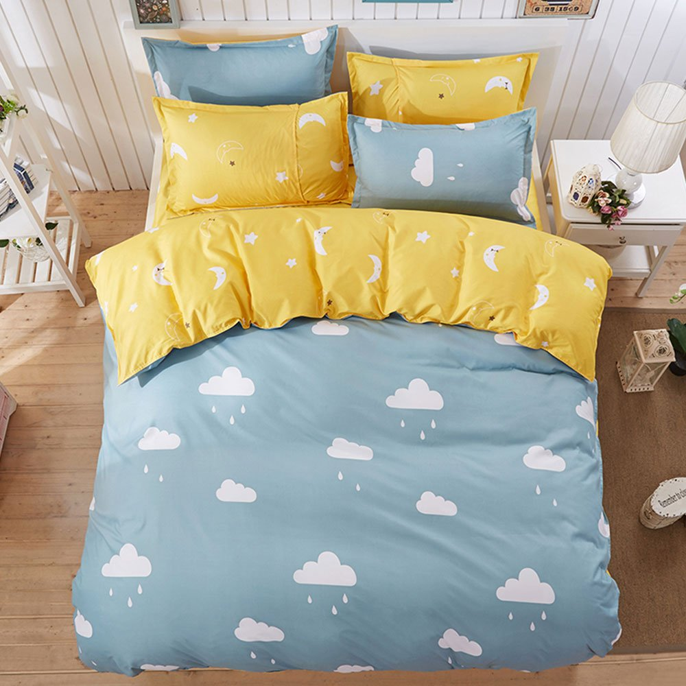 Twin Duvet Cover Set with Zipper Closure Luxury Soft Microfiber 4 Piece£¨1 Duvet Cover + 1 Bed Sheets + 2 Pillow Shams) Simple Child Cute Clouds Moon Blue Yellow - by Family Decor