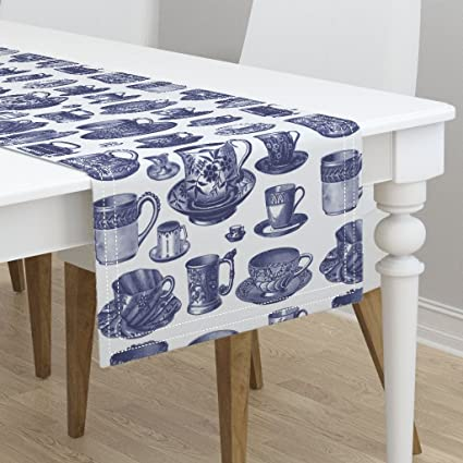 Amazoncom Table Runner China Blue And White Cups Tea Porcelain