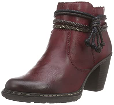 RIEKER LADIES SIZE UK 5 RED & BROWN FLAT LEATHER BOOTS
