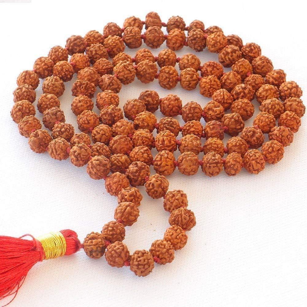 Mala Hand Knotted Size 8mm 41 Inch Meditation Yoga Mala 5 Mukhi Rudraksha Mala Buddha Prayer Nepali Rudraksha Japa Seed Beads Strand