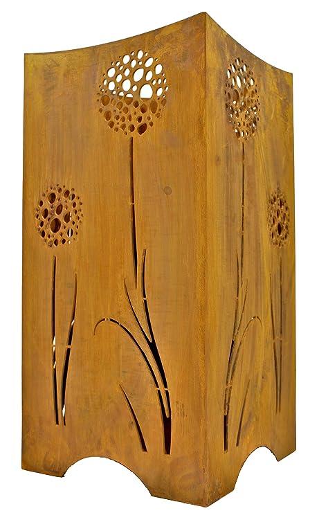 Rostikal | Feuerkorb mit Pusteblumen | Feuerstelle Feuerschale aus Metall  Rost für Garten und Terrasse | 28 x 28 x 57 cm