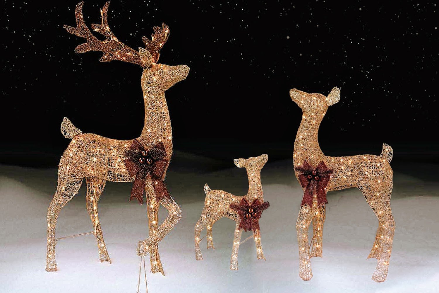 3 piece Pre-lit Outdoor LIGHTED REINDEER FAMILY, CHAMPAGNE GOLD Lawn Decoration Set - Includes BUCK, DOE, and BABY FAWN Yard Deer Sculpture Ornaments by Morning Star Market