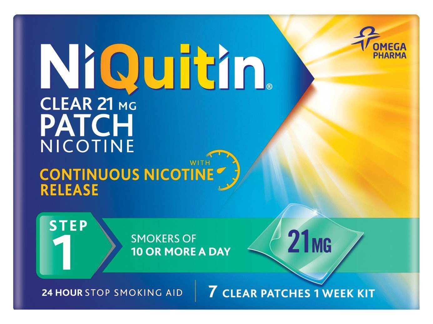 NiQuitin 21mg Clear 24 Hour 7 Patches Step 1 ( PACK OF 6 )