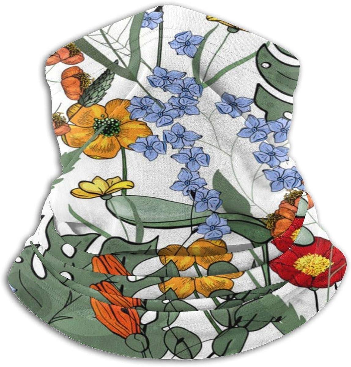 Bufanda de cuello Flor de orquídea Hojas de plátano Calentador de cuello Calentador de cuello Mascarilla transpirable a prueba de viento Unisex