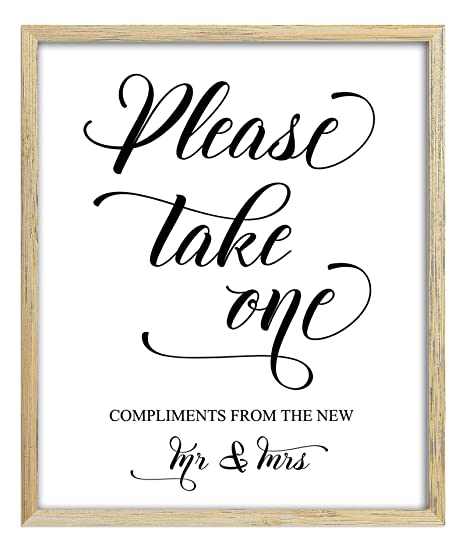 Please Take One Sign Wedding Favors Sign Party Print Compliments