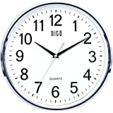 HITO Silent Non-ticking Wall Clock - Glass Cover, 12 inches (Chrome)