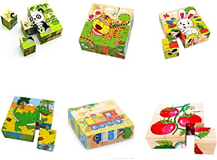 Emob Wooden 3D 9 Pieces Cubes Block Educational Puzzle Play Set Toy for Kids