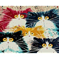 Komking Paint by Number Kit for Adults, DIY Oil Painting by Number Kit with Brush Canvas, Five Colorful Cats 16x20inch