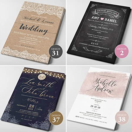 Personnalisé Mariage Invitations ou soirée invite avec enveloppes