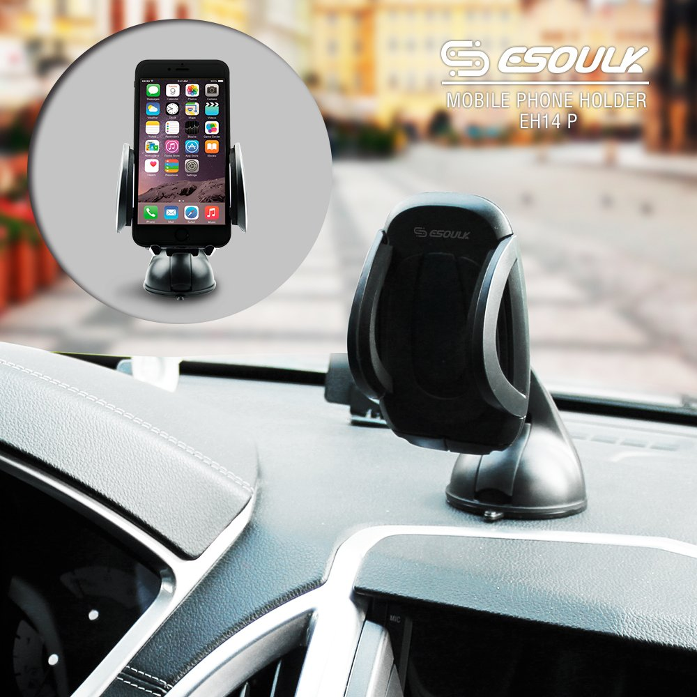 Windshield//Dashboard Universal Car Mobile Phone//Device Cradle for iOS//Android Smartphone and More 4327087551 Esoulk Car Phone Mount Holder