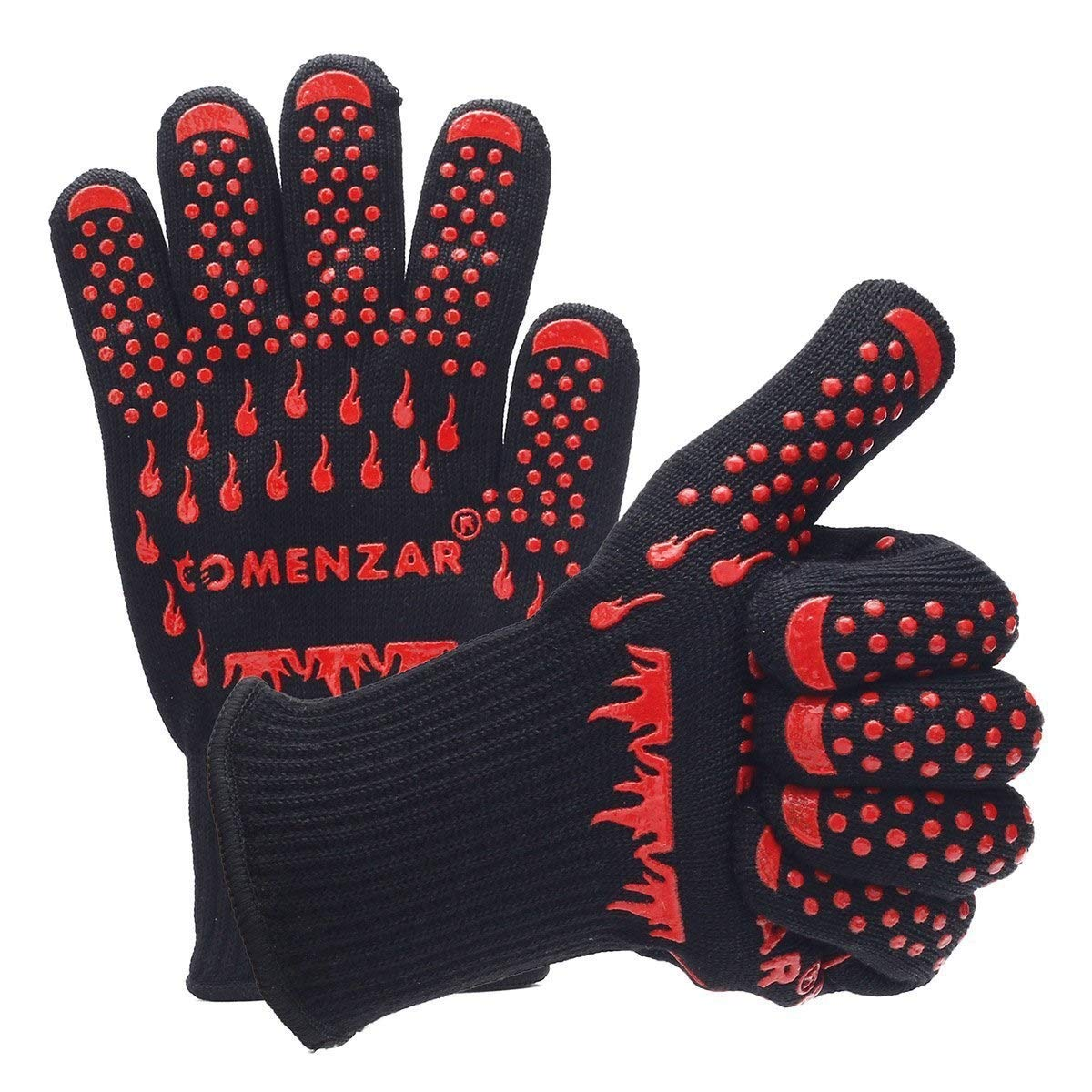 ZJYSM Comfortable Wearable Flexible Lightweight White Aramid Insulation High Temperature Flame Retardant Fire Point Silicone Anti-scalding Extra Large Oven BBQ BBQ Gloves Gloves
