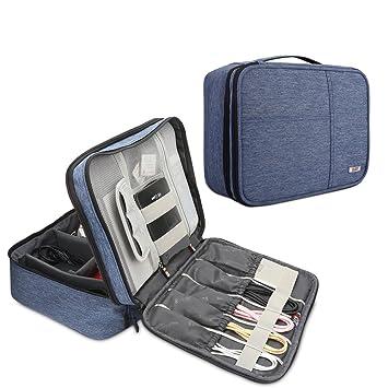 BUBM Organizador para Eléctronica Estuche para iPad Pro 10.5 Pulgadas Bolsa de Cables Funda de Bantería Extra(Grande, Azul)