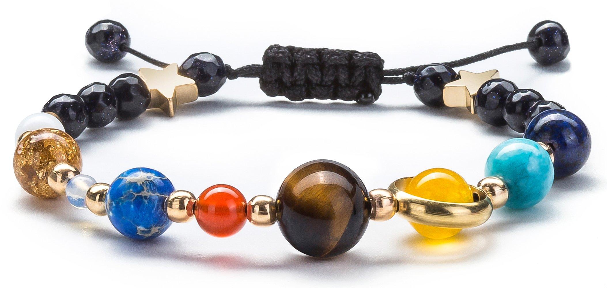 Fesciory Women Men Solar System Bracelet Universe Galaxy The Eight Planets Guardian Star Natural Stone Beads Bracelet Bangle(Blue Sandstone(Adjustable))