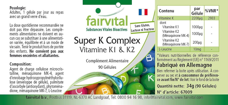 Vitamina K complex - VEGANO - Dosis elevada - 90 Cápsulas ...