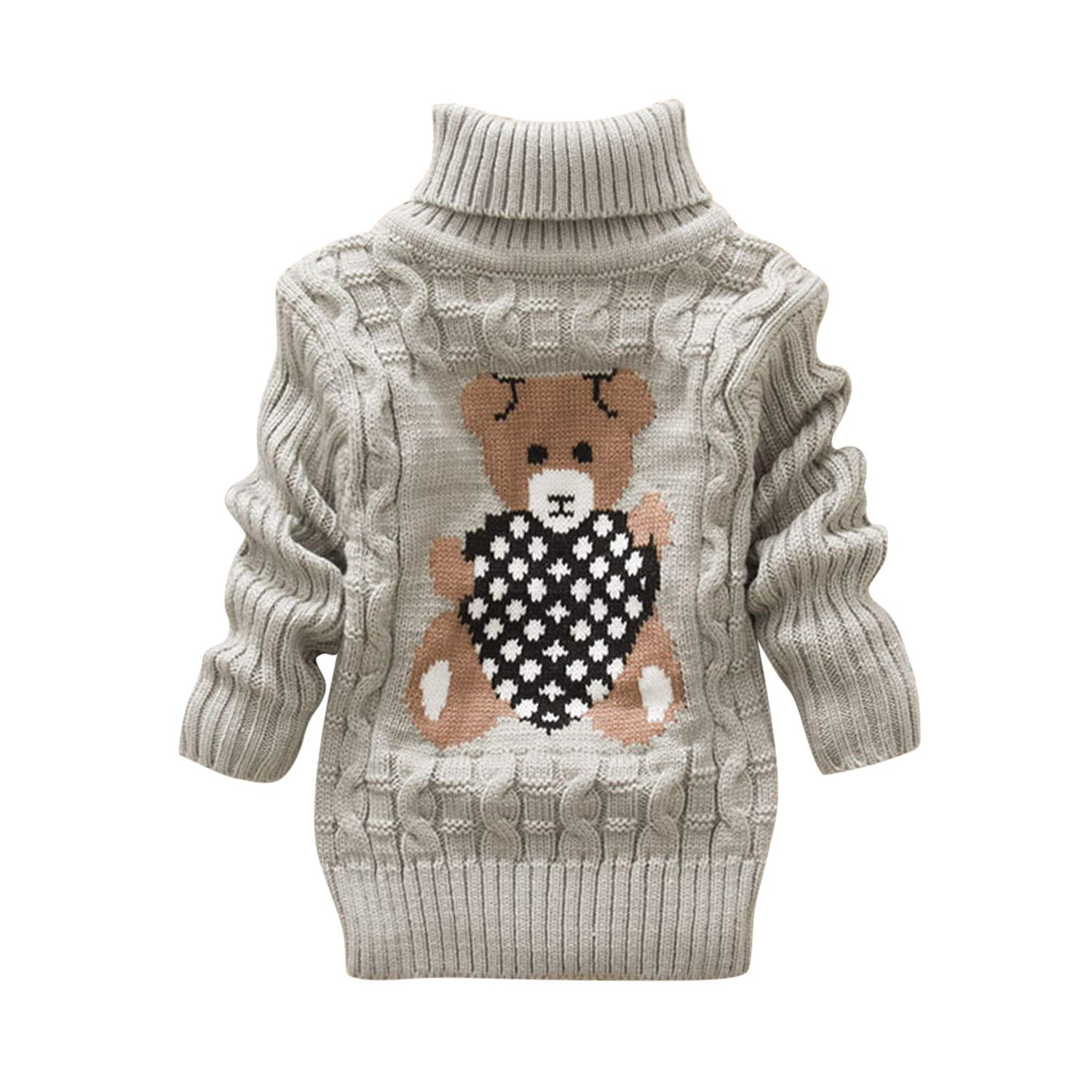 Evelin LEE Kids Bear Twist Long Sleeve Turtleneck Winter Warm Knit Christmas Sweater