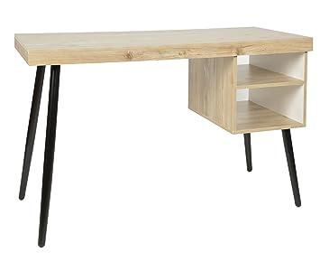 Ts ideen bureau ordinateur table en bois pieds noirs mdf: amazon.fr