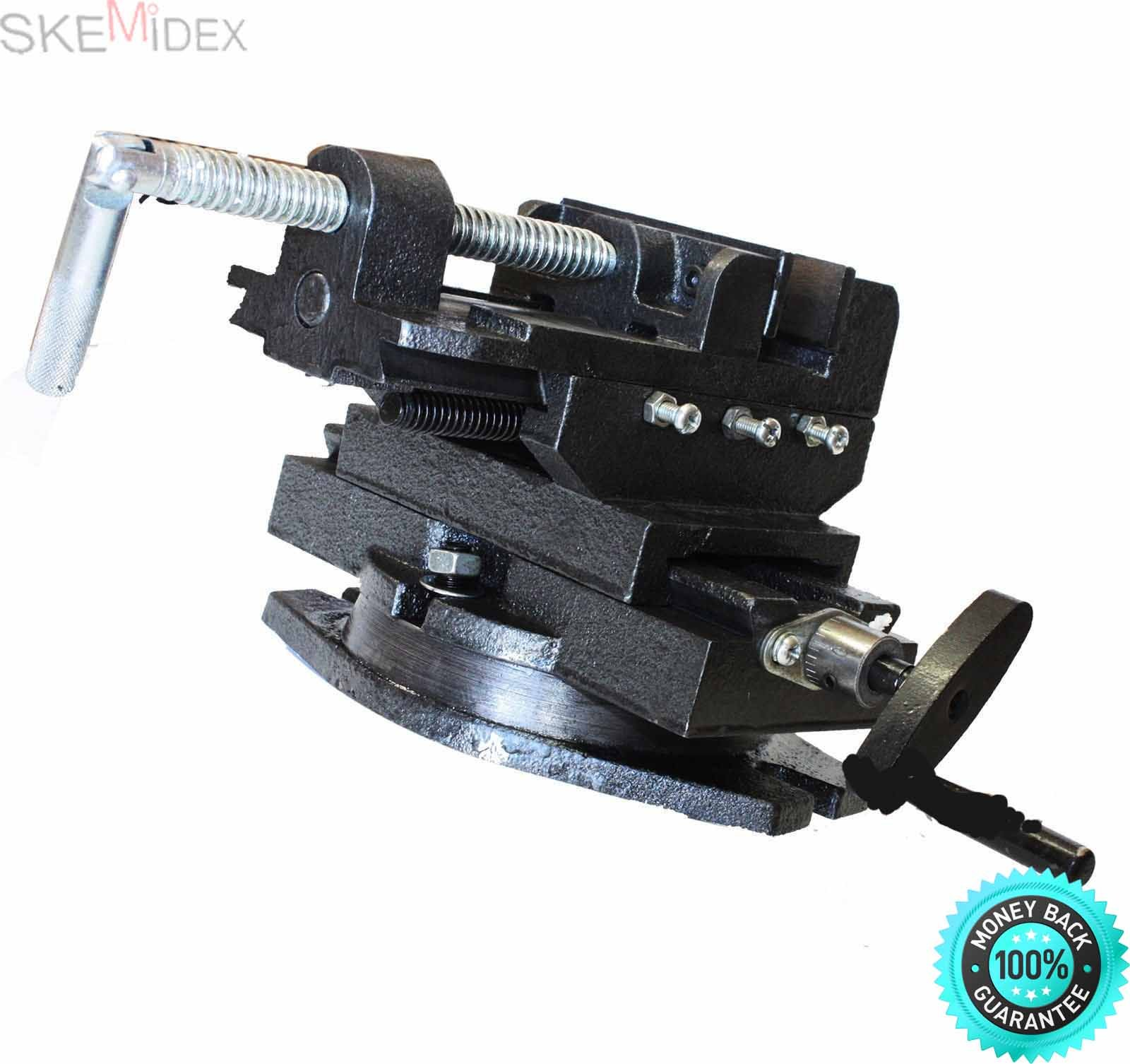 SKEMiDEX--- New HD 4'' Swivel 360 Deg Drill Press Vise Bench X Y Clamp Cross Slide Milling Features Provides Quick And Precise Positioning Along The X And Y Axis, Giving Drill Press Movements And Posit