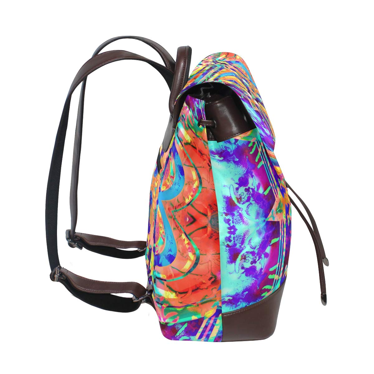 Unisex PU Leather Backpack Colorful Psychedelic Trippy Painting Print Womens Casual Daypack Mens Travel Sports Bag Boys College Bookbag