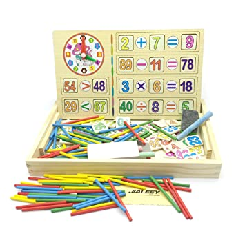 Montessori Toys For Toddlers JIALEEY Preschool Teaching Tool Math Number Counting Sticks With Blackboard And