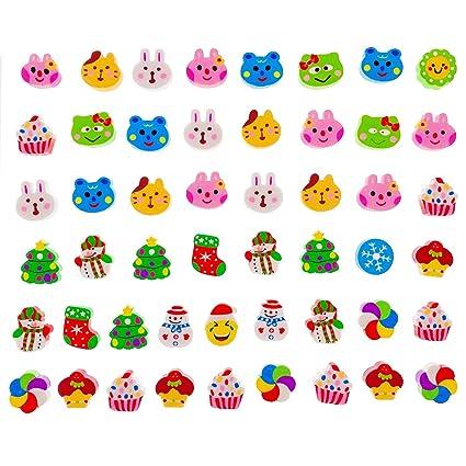 JZK 50 Linda pequeño lápiz goma borrar borrador para niños fiesta favores niños fiesta cumpleaños bolso rellenos cumpleaños regalo navidad para niña ...