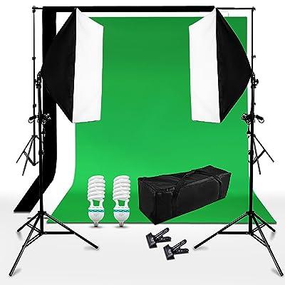 BPS 250W Kit iluminación Fotografía Fondo de Estudio Fotografía - 2 softbox 50x70cm + 3 telón de fondo 3x1.6m (negro verde blanco) + sistema soporte + bolsa de transporte - Equipo profesional de es