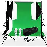 BPS 250W Kit iluminación Fotografía Fondo de Estudio Fotografía - 2 softbox 50x70cm + 3 telón de fondo 3x1.6m (negro verde blanco) + sistema soporte + bolsa de transporte - Equipo profesional de estudio fotográfico casero para retrato, vídeo - Backdrop Lighting Foto Kit